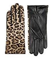 Autograph Leather Animal Print Gloves