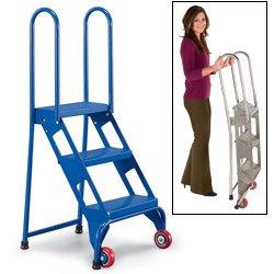 Ladders Folding Vestil Flad 4 Folding 4 Steps Ladder With Wheels Carbon Steel 350 Lbs Capacity 40 Top Step Height