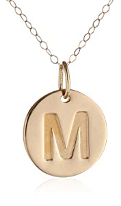 """Duragold 14k Yellow Gold Disc Initial """"M"""" Pendant Necklace, 18"""""""