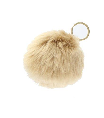 Faux Fur Pompom Keyring, Keychain & Bag Charm Accessory -Nude