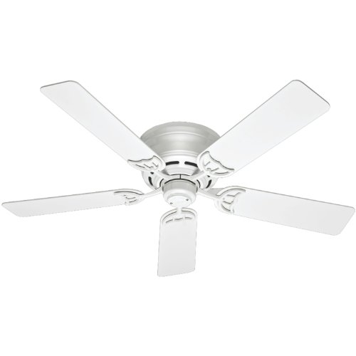 Hunter 53069 Low Profile III 52-Inch Ceiling Fan with Five White Blades, White (52 Inch Hunter Ceiling Fans compare prices)