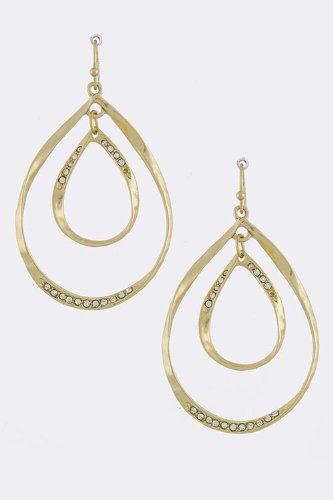 Baubles & Co Curved Teardrop Earrings (Matted Gold) front-181192