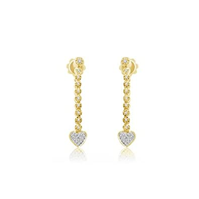 0.27ct H/SI1 Diamond Drop Earrings for Women with Round Brilliant Diamonds in 18ct Yellow Gold