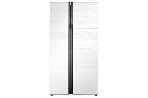 Samsung RS554NRUA Side-by-Side Refrigerator (591 Ltrs, White Shiny River Glass)
