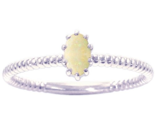 14K White Gold Petite Oval Gemstone Solitaire Stackable Ring-Opal, size6