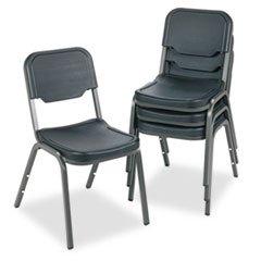* Rough N Ready Original Stack Chair, Resin, Black/Gray, 4/Carton front-321071