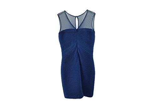 Calvin Klein Womens Blue Embellished Mesh Yoke Cocktail Dress 14