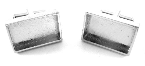Pair of Silver Rectangle Recessed Cufflink Backs Setting 22mm Pad DIY Findings