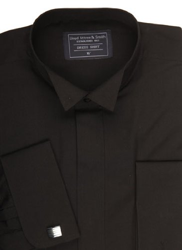 Wing Collar Formal Dress Shirt Black