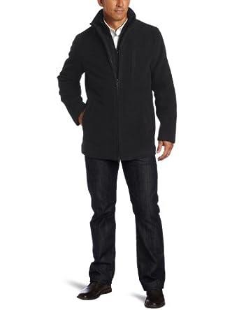 Calvin Klein Men's Wool Car Coat With Bib, Charcoal, X-Large
