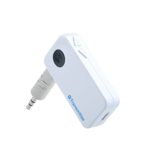 Patuoxun Portable Bluetooth Audio Music Transmitter Adapter W/ 3.5Mm Inlet Socket Pair It With Headphones Speakers Helmets And Bluetooth Receivers - White