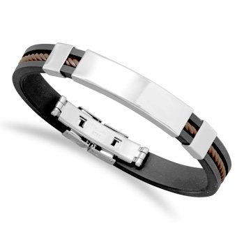 8 Inch Black Rubber And Stainless Steel Men'S Id Bracelet