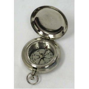 Chrome Plated Pocket Compass 1 3/4