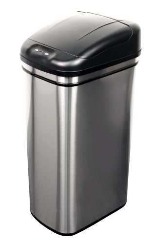 NST Nine Stars DZT-42-1 Infrared Touchless Automatic Motion Sensor Lid Open Trash Can, 11.1-Gallon (Rectangle Garbage Can compare prices)