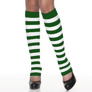 St. Patrick's Day Leg Warmers (One Size Fits All, Green/White)