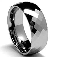 Bling Jewelry 8MM Men's Band Multi-faceted Tungsten Carbide Ring