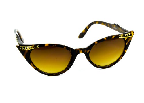 Brown with Gold Trim Cat Eye Style Sunglasses with Rhinestones