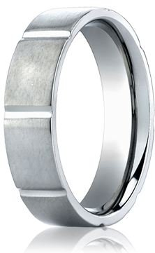 Mens 6mm Matte Wedding Band with Grooves