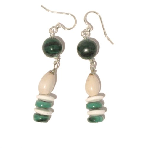 Malachite Earrings 07 Dangle Green Crystal Healing Stone White Jobs Tears Seed Bead Silver Plated 2
