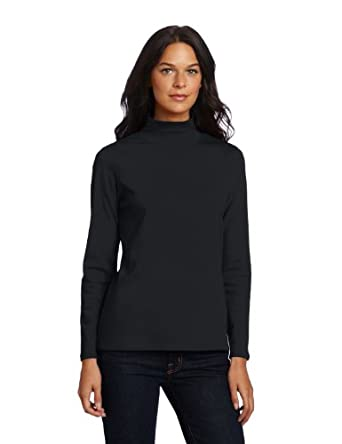 Pendleton Women's Ribbed Mock Neck Tee, Black, X-Small