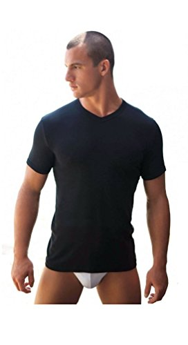 3 maglie t-shirt corpo uomo NAVIGARE 100% cotone m/m scollo a V nero art.512 (TG.7)