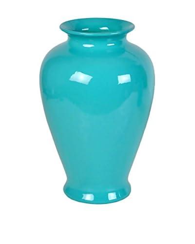 Three Hands Tall Ceramic Vase, Turquoise