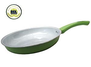 "Royal Organic Green 10"" Ceramic Non-Stick Coating Fry Pan Stay Cool Handle"