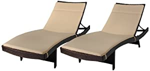 Best Selling Say Brook Wicker Adjustable Chaise Lounge with Cushions, Set of 2 by Best Furniture