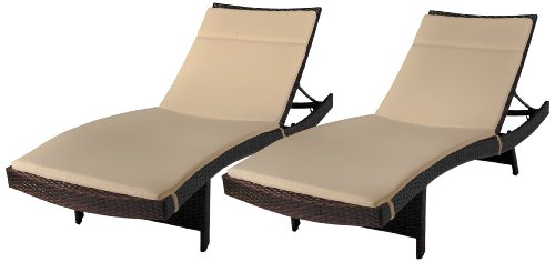 Best Selling Say Brook Wicker Adjustable Chaise Lounge with Cushions, Set of 2 photo