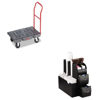 KITEMSCAD01BLKRCP443600BK - Value Kit - Black Standard Platform Truck w/Rubber Casters, Crossbar Handle, 48quot; x 24quot; (RCP443600BK) and Ems Mind Reader Llc Coffee Organizer (EMSCAD01BLK)