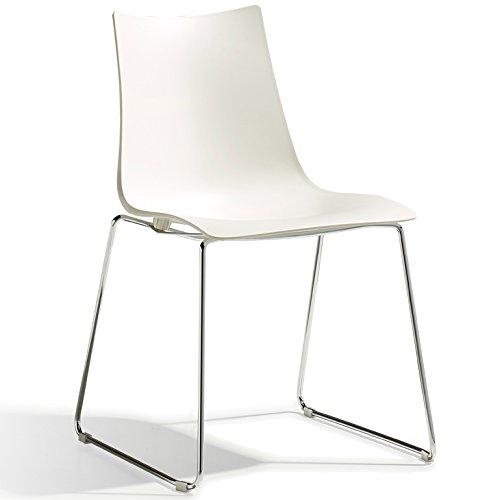 Scab Design Designer Stuhl mit Kufengestell Zebra Technopolymer Sledge linen