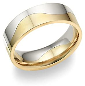 Two-Halves One Flesh 14K Two-Tone Gold Wedding Band Ring