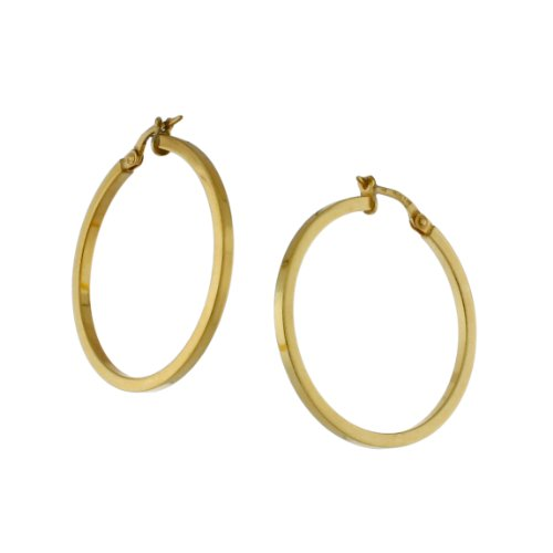 Sterling silver 14 karat Gold Plated, Square tubing, circle hoop earring.