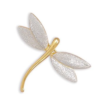 Rhodium Plated Silver/14K Gold Plated Stardust Dragonfly Pin