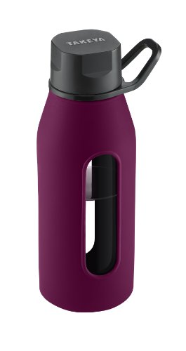 Takeya Classic Glass Water Bottle with Silicone Sleeve, Black/Purple, 16-1/2-Ounce