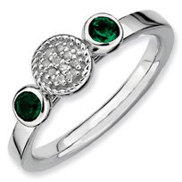 0.27ct Stackable Round Emerald & Diamond Ring Band. Sizes 5-10