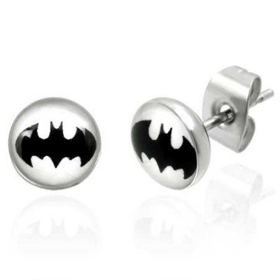 Urban Male Mens Stainless Steel Bat Design Stud Earrings 7mm (Pair)