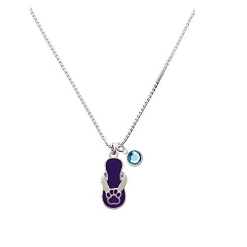 Paw Flip Flop Purple - Aqua Crystal Drop Necklace