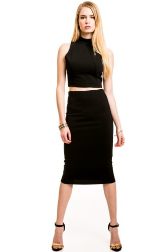 Texture Pencil Skirt Black