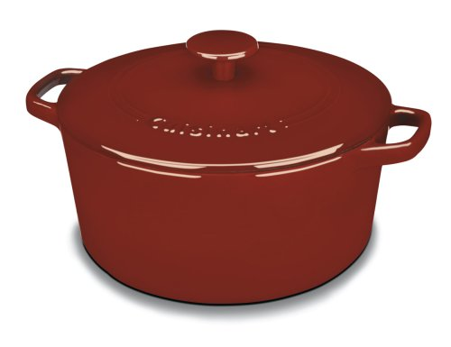 Cuisinart CI650-25CR Chef's Classic Enameled Cast Iron 5-Quart Round Covered Casserole, Cardinal Red (Red Cast Iron Cookware compare prices)