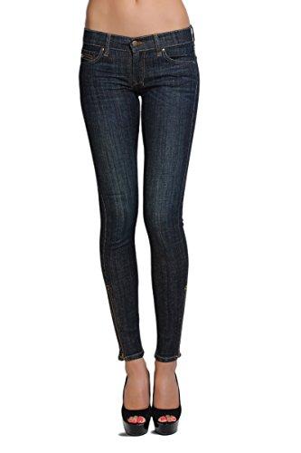 TheMogan Women's Dark Wash Low Rise Ankle Zip Skinny Jeans Dark 13