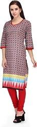 BPT Stylish Print Red Cotton Women's Kurti ( Size L / 40