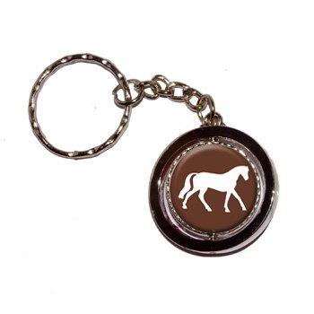 Horse Round Spinning Keychain