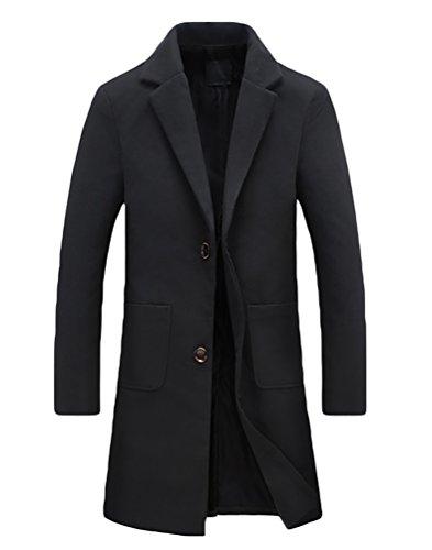 YiJee Taglia Grossa Cappotto Invernale Coats Elegante Monopetto Uomini Nero M