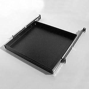 penn elcom r1291k 1u rack drawer sliding shelf audio 19 rack mount black steel. Black Bedroom Furniture Sets. Home Design Ideas