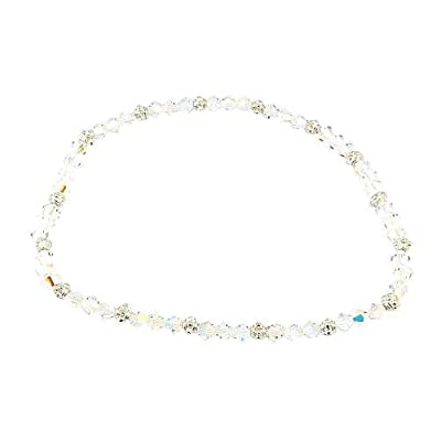 Anklet - A61 - Stretch - Crystal and Heishi Beads ~ Clear AB (Iridescent): Jewelry