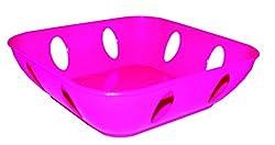 Oliveware Plastic Designer Fruit Bowl, 1 Piece, Pink