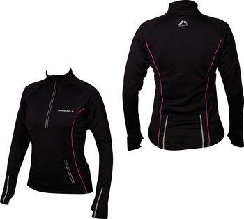 WOMENS More Mile Vancouver Thermal Long Sleeved Hi-Viz Black/Pink running top MM1323