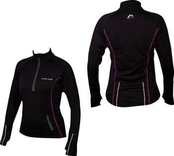 WOMENS More Mile Vancouver Thermal Long Sleeved Hi-Viz Black/Pink running top MM1323