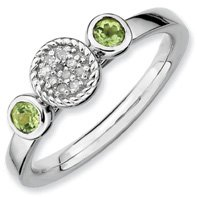 0.3ct Silver Stackable Db Round Peridot & Diamond Band. Sizes 5-10 Available